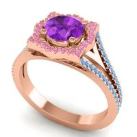 Ornate Halo Naksatra Amethyst Ring with Pink Tourmaline and Swiss Blue Topaz in 14K Rose Gold