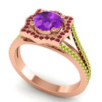 Ornate Halo Naksatra Amethyst Ring with Ruby and Peridot in 14K Rose Gold