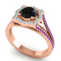 Ornate Halo Naksatra Black Onyx Ring with Aquamarine and Amethyst in 14K Rose Gold