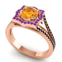 Ornate Halo Naksatra Citrine Ring with Amethyst and Black Onyx in 14K Rose Gold
