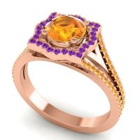 Ornate Halo Naksatra Citrine Ring with Amethyst in 14K Rose Gold