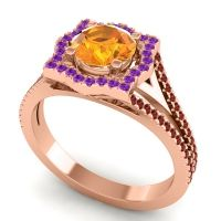 Ornate Halo Naksatra Citrine Ring with Amethyst and Garnet in 14K Rose Gold