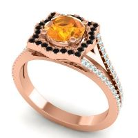 Ornate Halo Naksatra Citrine Ring with Black Onyx and Aquamarine in 14K Rose Gold