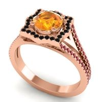 Ornate Halo Naksatra Citrine Ring with Black Onyx and Ruby in 18K Rose Gold