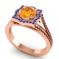 Ornate Halo Naksatra Citrine Ring with Blue Sapphire and Garnet in 18K Rose Gold
