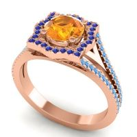 Ornate Halo Naksatra Citrine Ring with Blue Sapphire and Swiss Blue Topaz in 14K Rose Gold