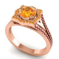 Ornate Halo Naksatra Citrine Ring with Ruby in 18K Rose Gold