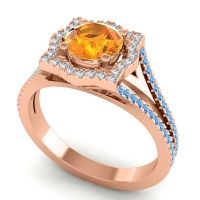 Ornate Halo Naksatra Citrine Ring with Diamond and Swiss Blue Topaz in 14K Rose Gold