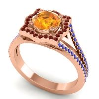 Ornate Halo Naksatra Citrine Ring with Garnet and Blue Sapphire in 14K Rose Gold
