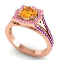 Ornate Halo Naksatra Citrine Ring with Pink Tourmaline and Amethyst in 14K Rose Gold