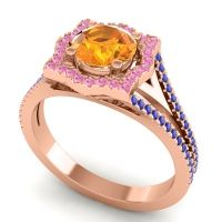 Ornate Halo Naksatra Citrine Ring with Pink Tourmaline and Blue Sapphire in 18K Rose Gold