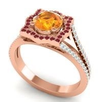 Ornate Halo Naksatra Citrine Ring with Ruby and Aquamarine in 14K Rose Gold