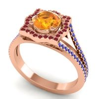 Ornate Halo Naksatra Citrine Ring with Ruby and Blue Sapphire in 14K Rose Gold