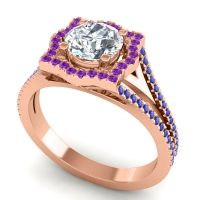 Ornate Halo Naksatra Diamond Ring with Amethyst and Blue Sapphire in 14K Rose Gold