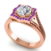 Ornate Halo Naksatra Diamond Ring with Amethyst and Garnet in 14K Rose Gold