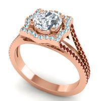 Ornate Halo Naksatra Diamond Ring with Aquamarine and Garnet in 18K Rose Gold