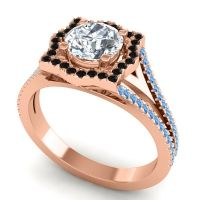 Ornate Halo Naksatra Diamond Ring with Black Onyx and Swiss Blue Topaz in 14K Rose Gold