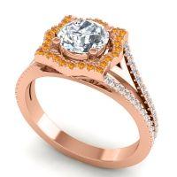 Ornate Halo Naksatra Diamond Ring with Citrine in 14K Rose Gold