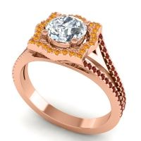 Ornate Halo Naksatra Diamond Ring with Citrine and Garnet in 18K Rose Gold