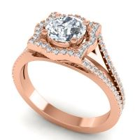 Ornate Halo Naksatra Diamond Ring in 18K Rose Gold