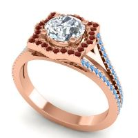 Ornate Halo Naksatra Diamond Ring with Garnet and Swiss Blue Topaz in 18K Rose Gold