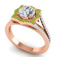Ornate Halo Naksatra Diamond Ring with Peridot and Aquamarine in 14K Rose Gold