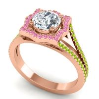 Ornate Halo Naksatra Diamond Ring with Pink Tourmaline and Peridot in 18K Rose Gold