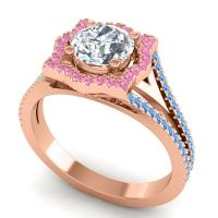 Ornate Halo Naksatra Diamond Ring with Pink Tourmaline and Swiss Blue Topaz in 14K Rose Gold