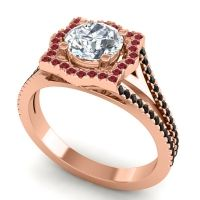 Ornate Halo Naksatra Diamond Ring with Ruby and Black Onyx in 18K Rose Gold