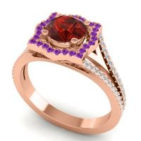 Ornate Halo Naksatra Garnet Ring with Amethyst and Diamond in 18K Rose Gold