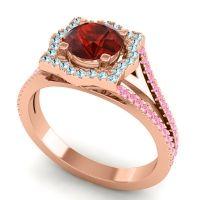 Ornate Halo Naksatra Garnet Ring with Aquamarine and Pink Tourmaline in 18K Rose Gold