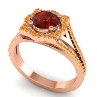 Ornate Halo Naksatra Garnet Ring with Citrine in 18K Rose Gold