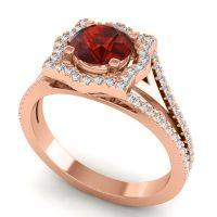 Ornate Halo Naksatra Garnet Ring with Diamond in 14K Rose Gold
