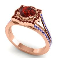 Ornate Halo Naksatra Garnet Ring with Blue Sapphire in 18K Rose Gold