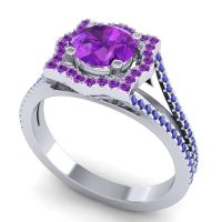 Ornate Halo Naksatra Amethyst Ring with Blue Sapphire in Palladium