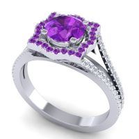Ornate Halo Naksatra Amethyst Ring with Diamond in Platinum