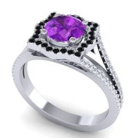 Ornate Halo Naksatra Amethyst Ring with Black Onyx and Diamond in 18k White Gold
