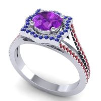 Ornate Halo Naksatra Amethyst Ring with Blue Sapphire and Ruby in 18k White Gold