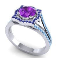 Ornate Halo Naksatra Amethyst Ring with Blue Sapphire and Swiss Blue Topaz in 18k White Gold