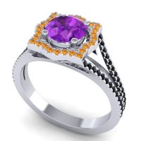 Ornate Halo Naksatra Amethyst Ring with Citrine and Black Onyx in 14k White Gold