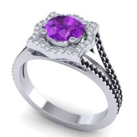 Ornate Halo Naksatra Amethyst Ring with Diamond and Black Onyx in Palladium