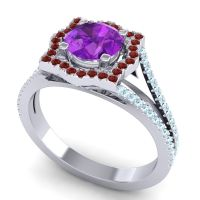 Ornate Halo Naksatra Amethyst Ring with Garnet and Aquamarine in 18k White Gold