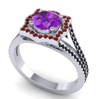 Ornate Halo Naksatra Amethyst Ring with Garnet and Black Onyx in 18k White Gold