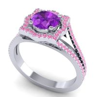 Ornate Halo Naksatra Amethyst Ring with Pink Tourmaline in 14k White Gold