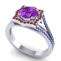 Ornate Halo Naksatra Amethyst Ring with Ruby and Blue Sapphire in Platinum
