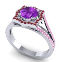 Ornate Halo Naksatra Amethyst Ring with Ruby and Pink Tourmaline in Platinum