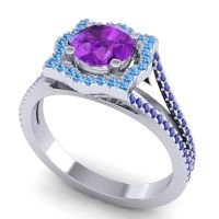 Ornate Halo Naksatra Amethyst Ring with Swiss Blue Topaz and Blue Sapphire in Platinum