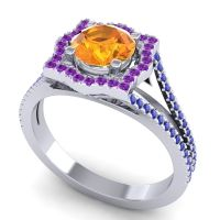 Ornate Halo Naksatra Citrine Ring with Amethyst and Blue Sapphire in Palladium