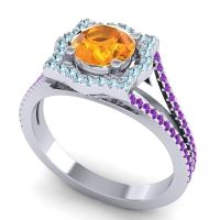 Ornate Halo Naksatra Citrine Ring with Aquamarine and Amethyst in 14k White Gold