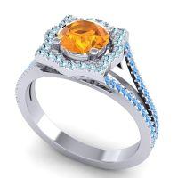 Ornate Halo Naksatra Citrine Ring with Aquamarine and Swiss Blue Topaz in Platinum